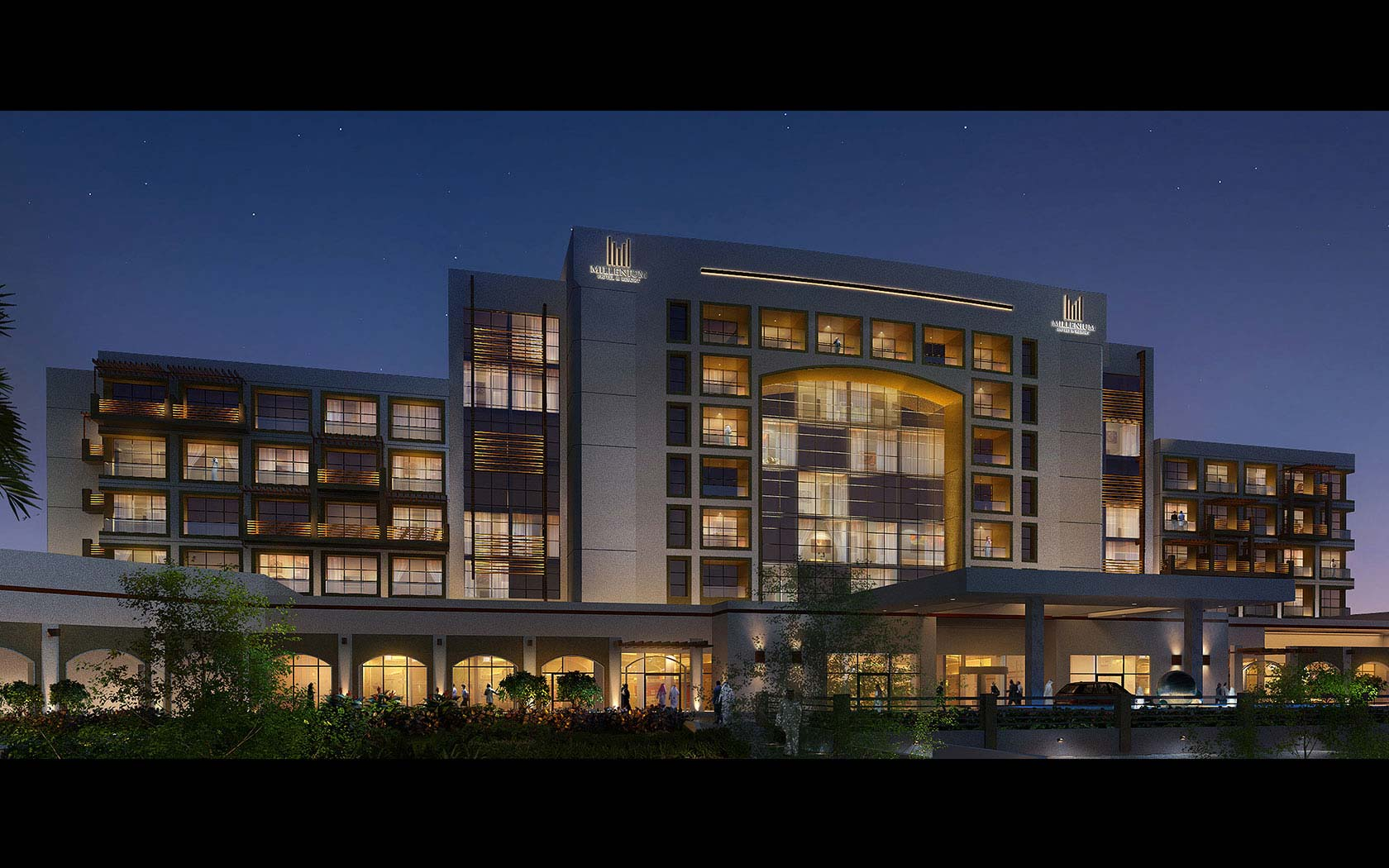 Delta lighting solutions projects millennium golf resort for Hotel design facade